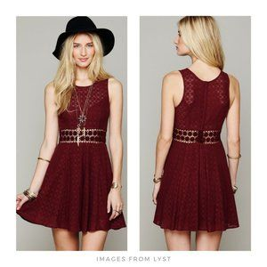 Free People ▪ Merlot Fitted with Daisies Dress